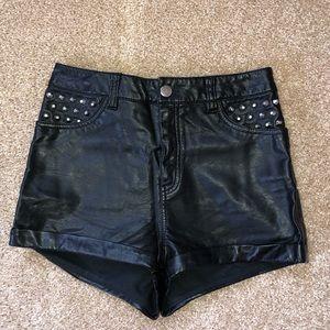 HM faux leather shorts